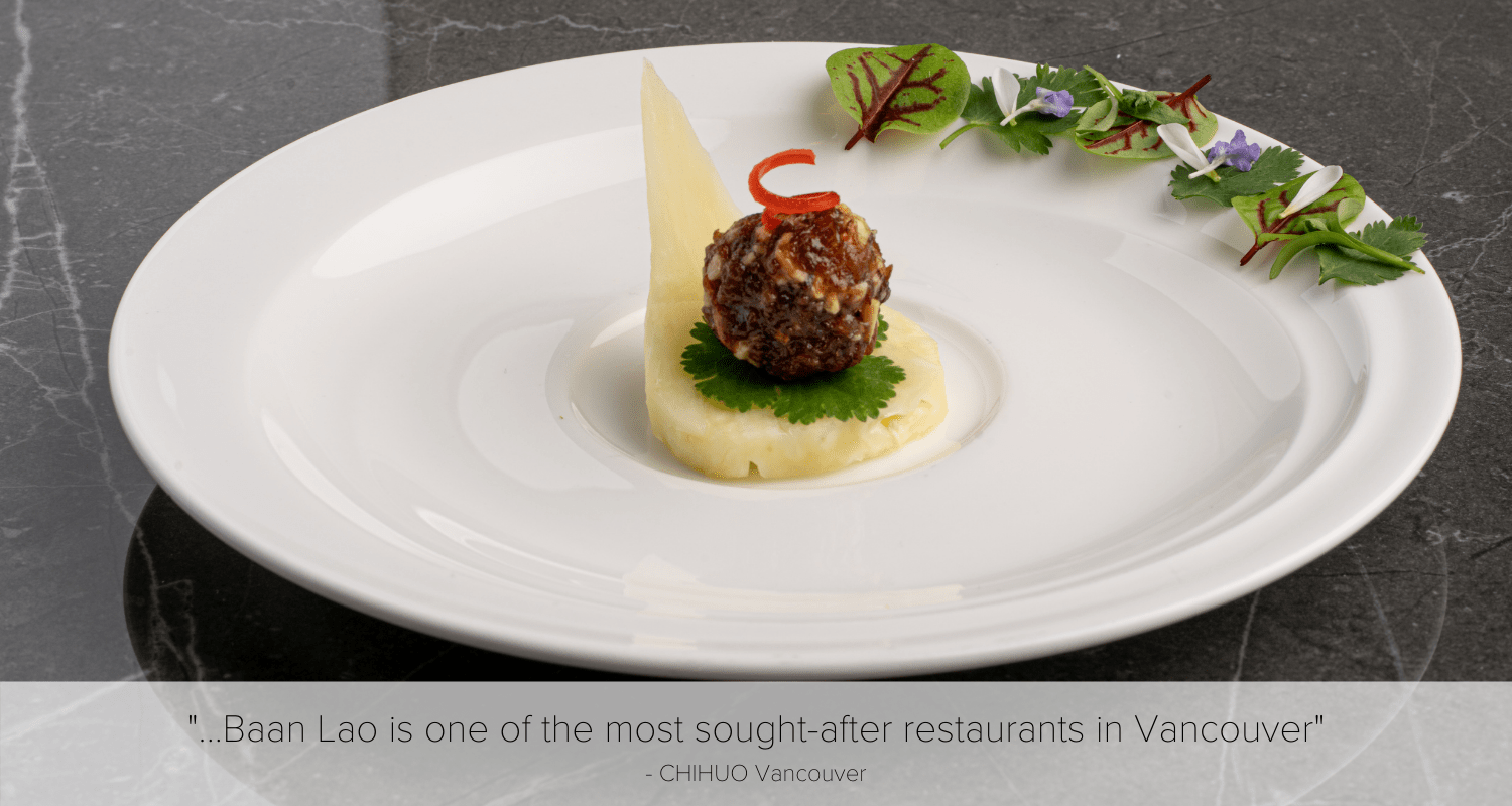 minced meatball on hand-carved pineapple spoon